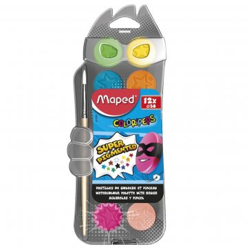 MAPED ΝΕΡΟΧΡΩΜΑΤΑ 12τεμ*30mm ΜΕ ΠΙΝΕΛΟ SUPER PIGMENTED COLOR PEPS MAPED