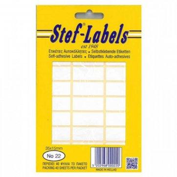STEF - LABELS  ΕΤΙΚΕΤΕΣ ΑΥΤΟΚΟΛΛΗΤΕΣ STEF 40Φ. No22 35X15mm