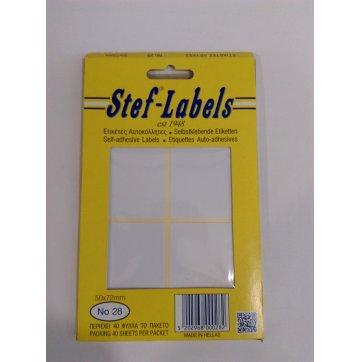 STEF - LABELS  ΕΤΙΚΕΤΕΣ ΑΥΤΟΚΟΛΛΗΤΕΣ STEF 40Φ. No28 50x72mm