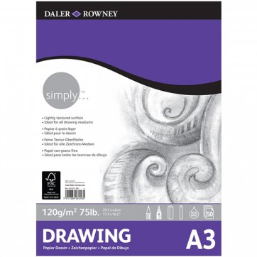 DALER ROWNEY SIMPLY A3 DRAWING PAD 50SH/120GSM