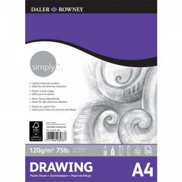 DALER ROWNEY SIMPLY A4 DRAWING PAD 50S/120G