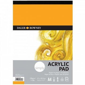 DALER ROWNEY SIMPLY A4 ACRYLIC PAD 16SH/190G