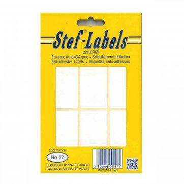 STEF - LABELS  ΕΤΙΚΕΤΕΣ ΑΥΤΟΚΟΛΛΗΤΕΣ STEF 40Φ. No27 32X72mm
