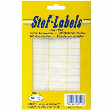 STEF - LABELS  ΕΤΙΚΕΤΕΣ ΑΥΤΟΚΟΛΛΗΤΕΣ STEF 40Φ. No10 30X10mm