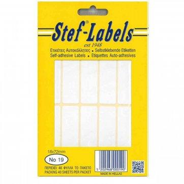 STEF - LABELS  ΕΤΙΚΕΤΕΣ ΑΥΤΟΚΟΛΛΗΤΕΣ STEF 40Φ. No19 18X72mm