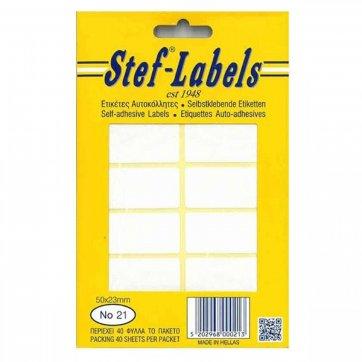 STEF - LABELS  ΕΤΙΚΕΤΕΣ ΑΥΤΟΚΟΛΛΗΤΕΣ STEF 40Φ. No21 50X23mm