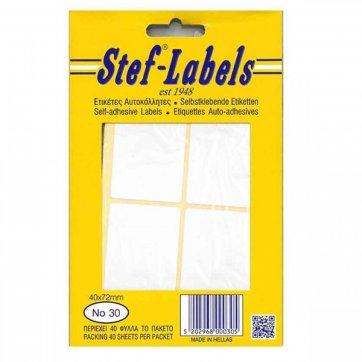 STEF - LABELS  ΕΤΙΚΕΤΕΣ ΑΥΤΟΚΟΛΛΗΤΕΣ STEF 40Φ. No30 40X72mm