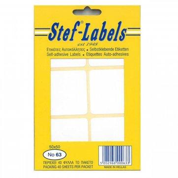 STEF - LABELS  ΕΤΙΚΕΤΕΣ ΑΥΤΟΚΟΛΛΗΤΕΣ STEF 40Φ. No63 50X50mm